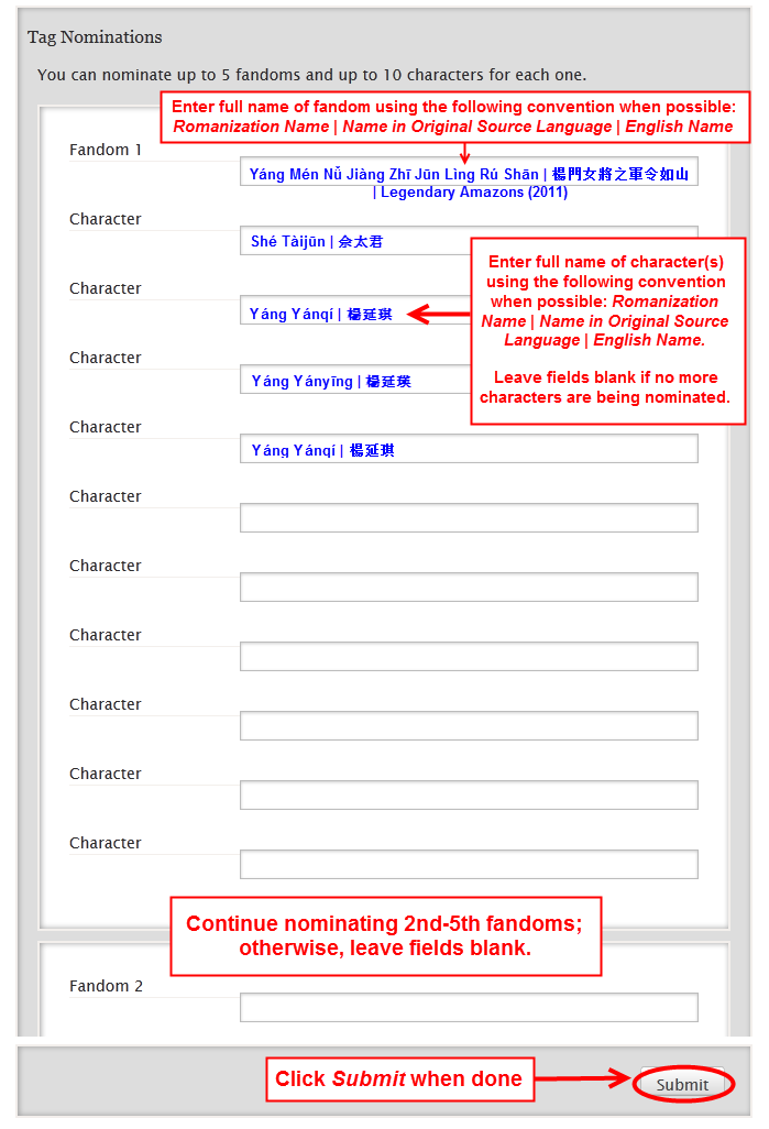 An example of nominations form