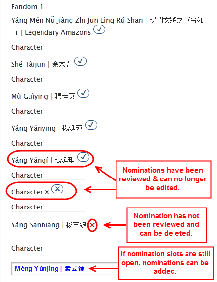 An example of how to edit and delete nominations