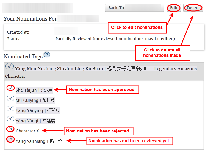 An example of a 'Your Nominations' page